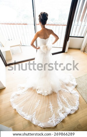 stunning bride pic (from behind) in white - could be any bride - stock photo