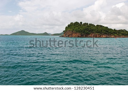 stunning Caribbean sea and mountainous landscape in Antigua (sea view and dramatic sky)
