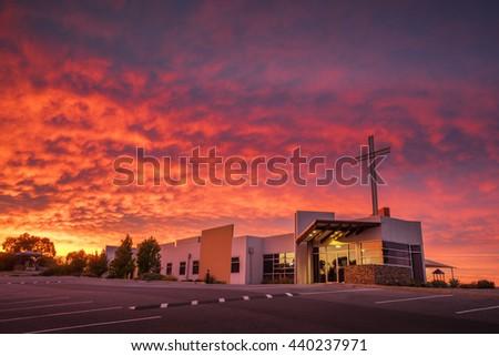 Stunning Church Sunrise - stock photo
