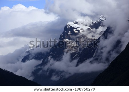 Stunning cloud and fog cover on mountains at Sikkim, India, Circa May 2009