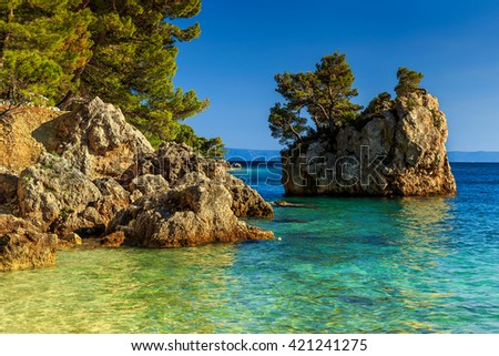 Stunning coast of Adriatic sea and rocky island,Makarska riviera,Brela,Dalmatia,Croatia,Europe - stock photo