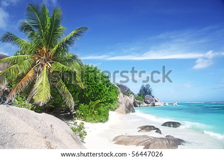 Stunning deserted Beach at La Dique in The Seychelles - stock photo