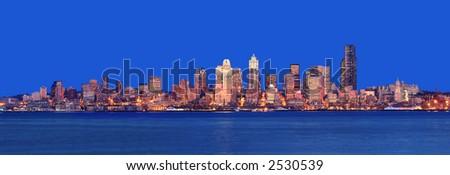 Stunning Dusk Panoramic shot from Alki Beach - stock photo