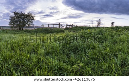 Stunning English countryside panorama landscape over fields at sunset - stock photo