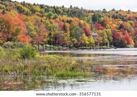 Stunning fall foliage and lake in Vermont, USA - stock photo