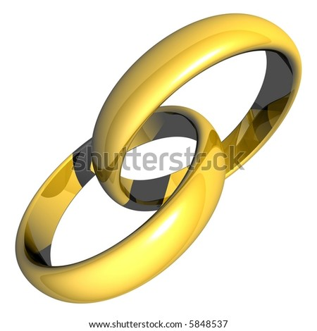 Stunning gold rings isolated on white