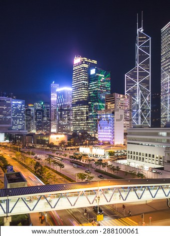 Stunning Hong Kong island skyline at twilight. - stock photo