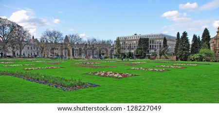 stunning Imperial Gardens in Cheltenham, United Kingdom (panoramic picture)