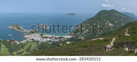 "Stunning landscape of resort village Shek O in Hong Kong. Viewed from ""Dragonâ??s Back"" which has been voted the ""Best Urban Hiking Trail in Asia""  - stock photo"