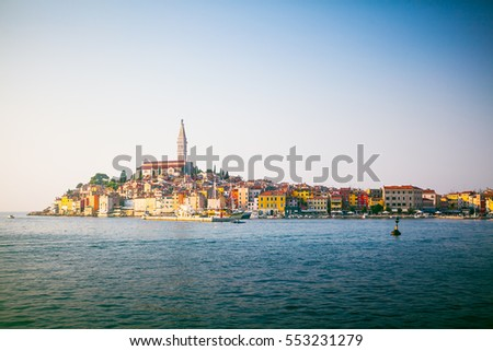Stunning landscape view of old town Rovinj, Croatia