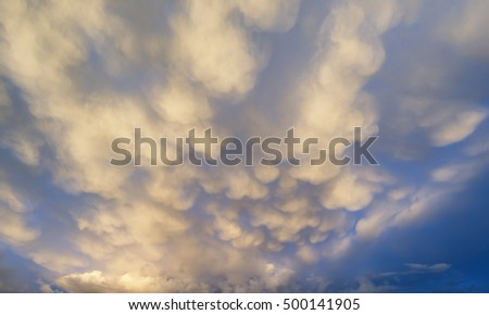 Stunning mammatus clouds formation immediately prior to violent storm
