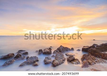 Stunning minimalist long exposure landscape - stock photo