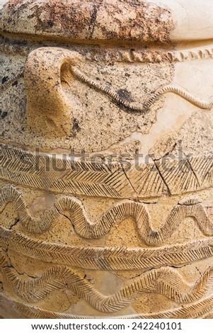stunning Minoan Jar at Knossos Palace in Crete, Greece. - stock photo