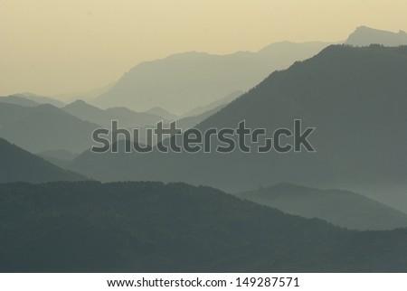 stunning misty mountain view - stock photo