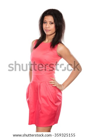 Stunning mixed race african american woman in red dress. Gorgeous young girl isolated on white. Fashion. - stock photo