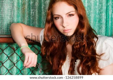 Stunning Model with Long Wavy Auburn Hair - stock photo