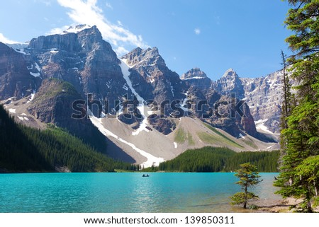 stunning moraine lake at banff national park, alberta, canada - stock photo