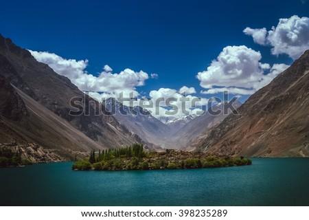 Stunning mountain lake in the valley in the Karakorum mountains in Pakistan, Skardu region - stock photo