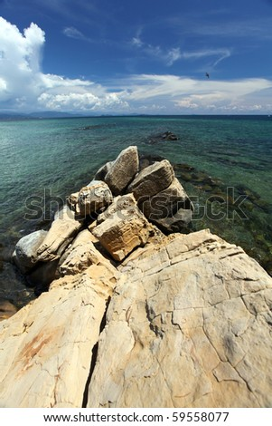 Stunning Ocean View With Lime stones In Borneo Malaysia! - stock photo