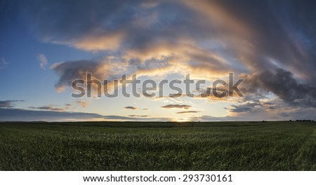 Stunning panorama landscape South Downs countryside in Summer - stock photo