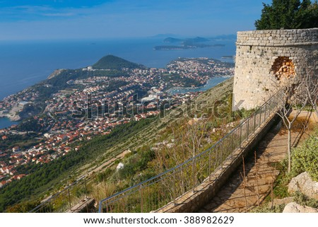 Stunning panorama of Dubrovnik with old town and Adriatic sea,Dalmatia,Croatia,Europe - stock photo