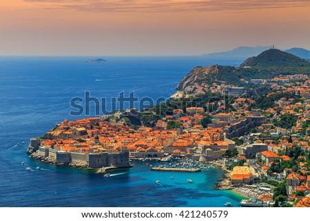 Stunning panorama of Dubrovnik with old town and Adriatic sea,Dalmatia,Croatia,Europe - stock photo