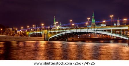 Stunning Panoramic night view of Moscow Kremlin, Russia - stock photo