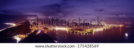 Stunning panoramic of Rio de Janeiro Brazil from the Sugar Loaf - stock photo