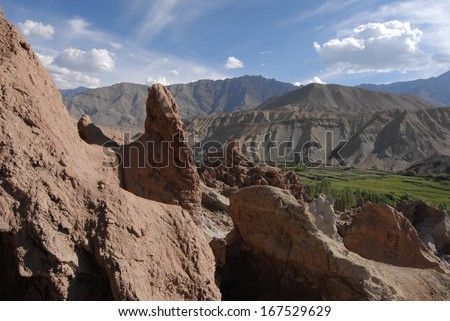 Stunning Scenery in Ladakh in the Indian Himalayas - stock photo