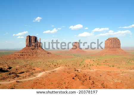 Stunning scenery in Monument Valley, Arizona, from left to right: West Mitten, East Mitten, and Merrick Butte - stock photo