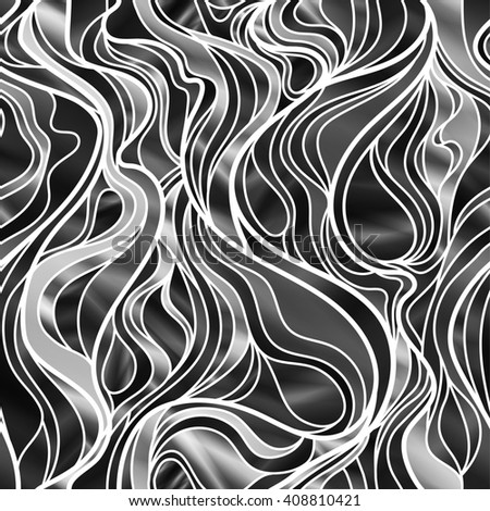 Stunning seamless abstract design, in black and white. High-resolution raster JPEG version.  - stock photo
