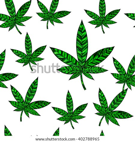 Stunning seamless cannabis leaf in stained-glass style, isolated on white. High-resolution raster JPEG version.  - stock photo