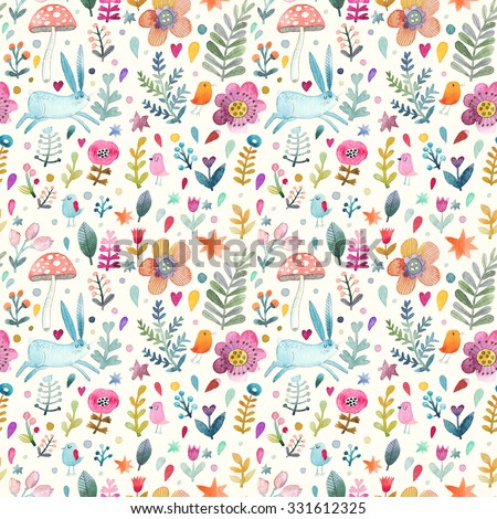 Stunning seamless pattern with cute rabbit, birds, flowers, leafs and mushroom in awesome colors. Lovely forest theme set made in watercolor technique. Bright summer concept wallpaper