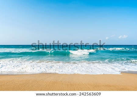 stunning seascape view at Amnissos beach in Crete, Greece - stock photo
