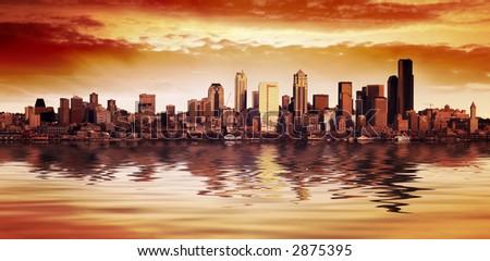 Stunning Seattle City Sunset - stock photo