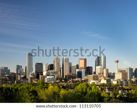 Stunning shot of Calgary skyline with a lot of copy space left intentionally. - stock photo
