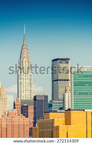 Stunning skyscrapers of New York. Manhattan skyline. - stock photo