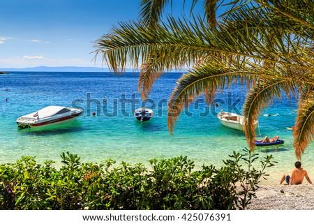 Stunning summer holiday with Adriatic Sea and majestic beach on Brela resort,Makarska riviera,Dalmatia,Croatia,Europe - stock photo