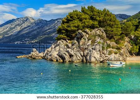 Stunning summer landscape with Adriatic Sea,Biokovo mountains and majestic bay,Brela beach,Dalmatia,Croatia,Europe - stock photo