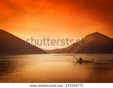 stunning sunset in the Bay of Kotor - stock photo