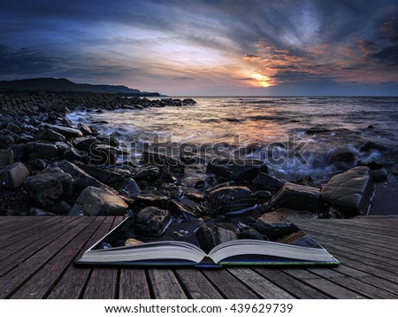 Stunning sunset landscape image of rocky coastline in Dorset England with montage of rocks continuing on book - stock photo
