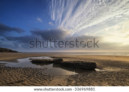 Stunning sunset landscape over Dunraven Bay in Wales