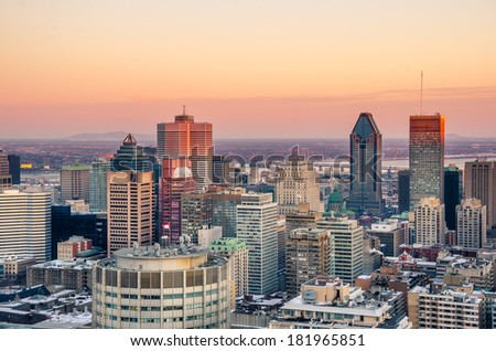 Stunning Sunset over Downtown Montreal in Winter - stock photo