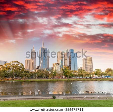 Stunning sunset over Melbourne - Victoria, Australia. - stock photo