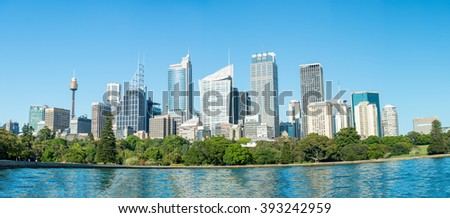 Stunning sunset view of Sydney skyline, Australia. - stock photo