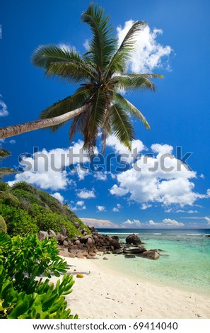 Stunning tropical beach on Mahe island in Seychelles - stock photo