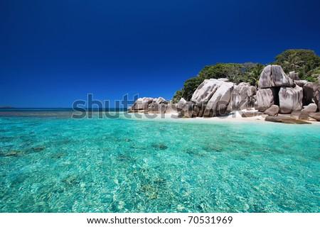 Stunning tropical beach onCoco island at Seychelles - stock photo