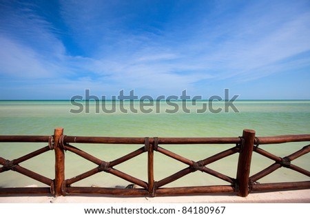 Stunning tropical sea view from wooden terrace