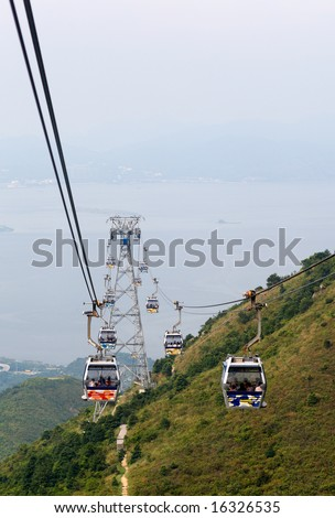 Stunning view from a cable car - stock photo