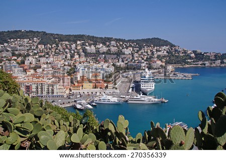 Stunning view from Castle Hill and park towards the harbour in Nice which is situated close to old town